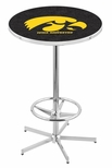 University of Iowa 42''H Chrome Finish Bar Height Pub Table with Foot Ring [L216C42IOWAUN-FS-HOB]