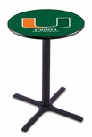 University of Miami 36''H Black Wrinkle Finish Counter Height Pub Table with X-Base [L211B36MIA-FL-FS-HOB]