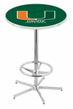 University of Miami 42''H Chrome Finish Bar Height Pub Table with Foot Ring [L216C42MIA-FL-FS-HOB]