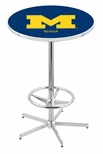 University of Michigan 42''H Chrome Finish Bar Height Pub Table with Foot Ring [L216C42MICHUN-FS-HOB]