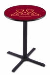 University of Minnesota 36''H Black Wrinkle Finish Counter Height Pub Table with X-Base [L211B36MINNUN-FS-HOB]