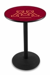 University of Minnesota 36''H Black Wrinkle Finish Counter Height Pub Table with Round Base [L214B36MINNUN-FS-HOB]