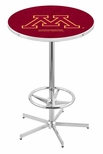 University of Minnesota 42''H Chrome Finish Bar Height Pub Table with Foot Ring [L216C42MINNUN-FS-HOB]