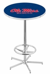 University of Mississippi 42''H Chrome Finish Bar Height Pub Table with Foot Ring [L216C42MSSPPU-FS-HOB]