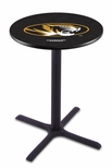 University of Missouri 36''H Black Wrinkle Finish Counter Height Pub Table with X-Base [L211B36MIZZOU-FS-HOB]