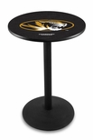 University of Missouri 36''H Black Wrinkle Finish Counter Height Pub Table with Round Base [L214B36MIZZOU-FS-HOB]