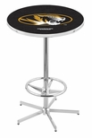 University of Missouri 42''H Chrome Finish Bar Height Pub Table with Foot Ring [L216C42MIZZOU-FS-HOB]