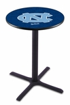 University of North Carolina 36''H Black Wrinkle Finish Counter Height Pub Table with X-Base [L211B36NORCAR-FS-HOB]