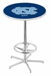 University of North Carolina 42''H Chrome Finish Bar Height Pub Table with Foot Ring [L216C42NORCAR-FS-HOB]