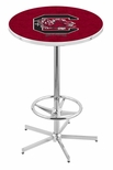 University of South Carolina 42''H Chrome Finish Bar Height Pub Table with Foot Ring [L216C42SOUCAR-FS-HOB]