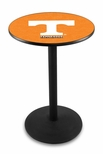 University of Tennessee 36''H Black Wrinkle Finish Counter Height Pub Table with Round Base [L214B36TENNES-FS-HOB]