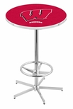 University of Wisconsin 42''H Chrome Finish Bar Height Pub Table with Foot Ring [L216C42WISC-W-FS-HOB]