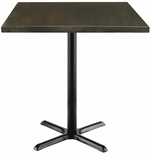 Urban Loft Collection 36'' Square Vintage Wood Top with Black Bistro Height Table Base - Espresso [T36SQ-B2025-38-LFT-ES-IFK]