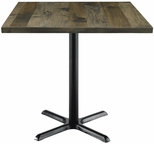 Urban Loft Collection 36'' Square Vintage Wood Top with Black Cafe Height Table Base - Barnwood [T36SQ-B2025-LFT-BN-IFK]