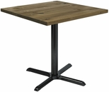 Urban Loft Collection 36'' Square Vintage Wood Top with Black Cafe Height Table Base - Natural [T36SQ-B2025-LFT-NA-IFK]