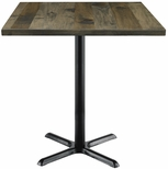 Urban Loft Collection 42'' Square Vintage Wood Top with Black Bistro Height Table Base - Barnwood [T42SQ-B2025-38-LFT-BN-IFK]