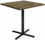 Urban Loft Collection 42'' Square Vintage Wood Top with Black Bistro Height Table Base - Natural [T42SQ-B2025-38-LFT-NA-IFK]