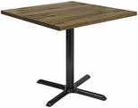 Urban Loft Collection 42'' Square Vintage Wood Top with Black Cafe Height Table Base - Natural [T42SQ-B2025-LFT-NA-IFK]