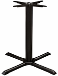 Valencia 4 Cast Iron Dining Table with Large X Shaped Base - Black Powder Coat [SC-1401-589-BLK-SCON]