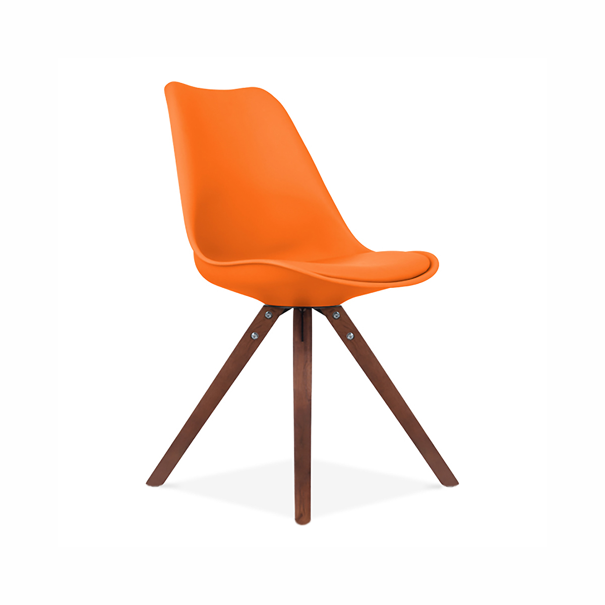 Viborg mid century orange side chair with walnut wood base Mid century chairs
