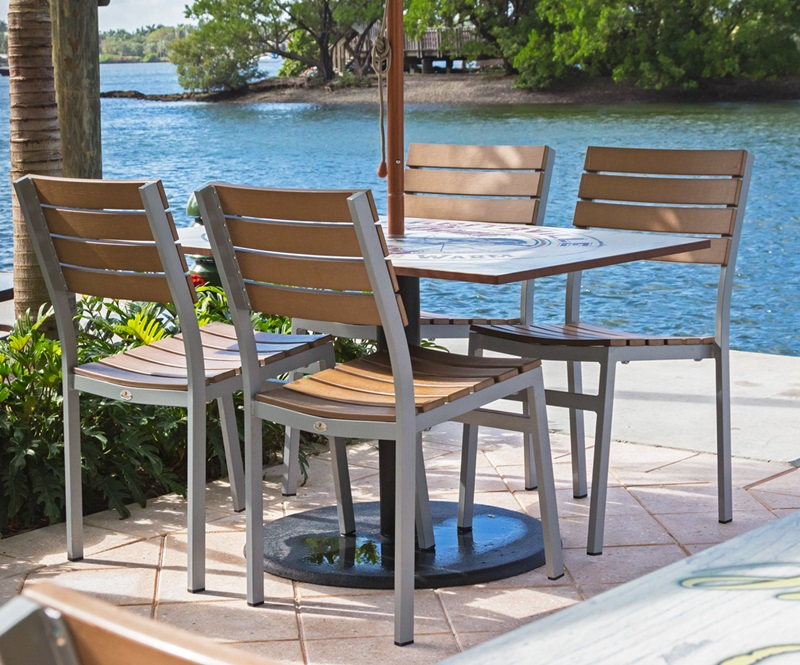 Vienna Outdoor Armless Side Chair With Black Durawood Slat