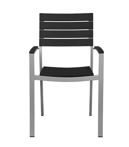 Vienna Outdoor Stackable Arm Chair With Black Durawood