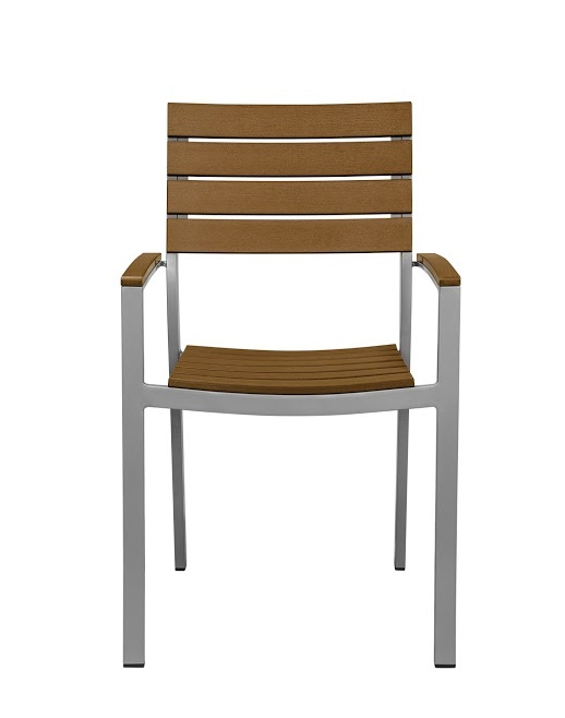 Vienna Outdoor Stackable Arm Chair With Teak Durawood Slat