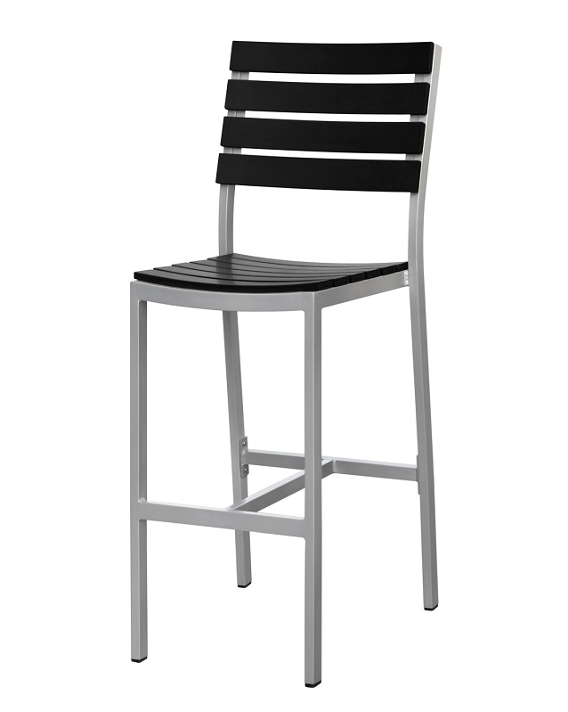 Vienna Outdoor Armless Bar Chair With Black Durawood Slat