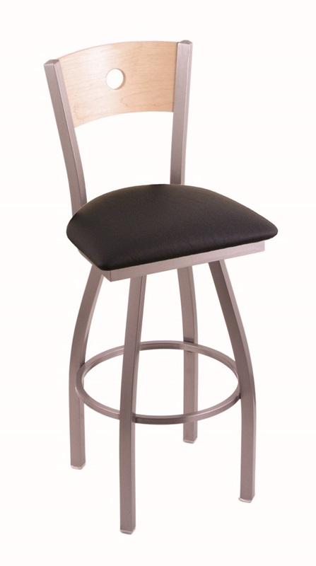 Voltaire 25 39 39 Stainless Finish Swivel Counter Height Stool With Natur