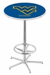 West Virginia University 42''H Chrome Finish Bar Height Pub Table with Foot Ring [L216C42WESTVA-FS-HOB]