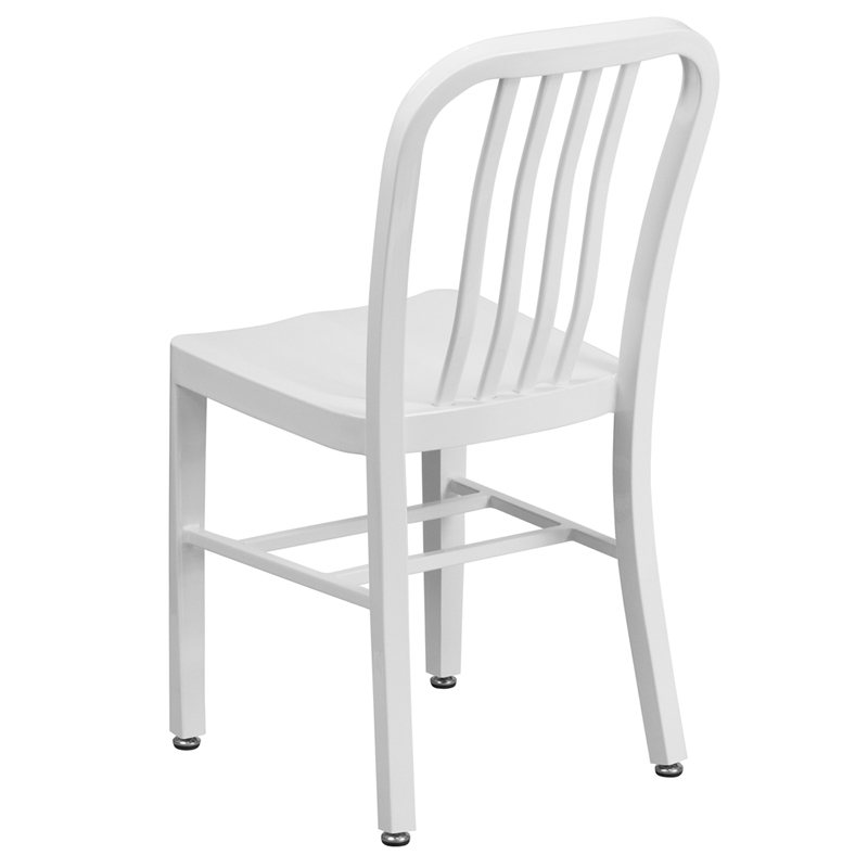 White Metal Indoor Outdoor Chair Ch 61200 18 Wh Gg