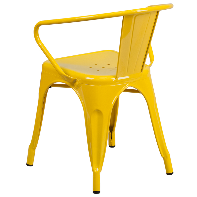 Yellow Metal Indoor-Outdoor Chair with Arms, CH-31270-YL-GG ...