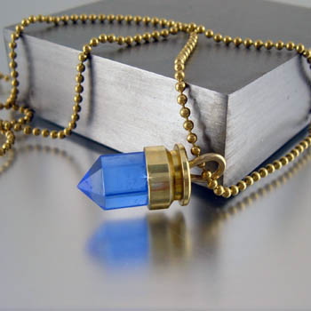 ".40 Caliber Bullet Pendant with Blue Topaz ""Blue Yonder"""