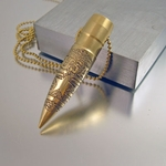 ".50 Caliber Bullet Necklace ""USA"""