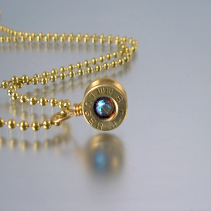 9mm Bullet Pendant Charm with Crystal