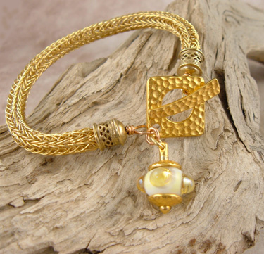 "Artisan Made Viking Knit Bracelet ""Dorado"""