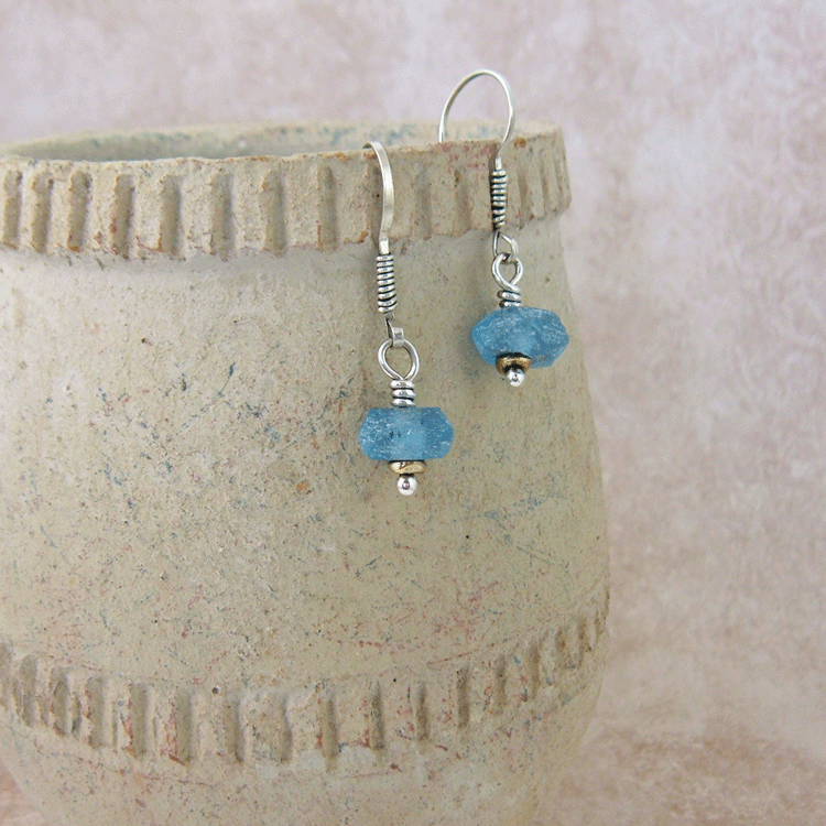 Beach Glass Blue Earring
