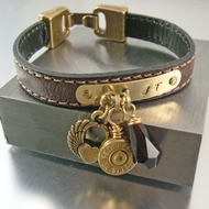 Bullet Bracelet | Brass Charmer | Custom Leather Bracelet