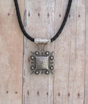 Concho Necklace - Black Bolo Leather
