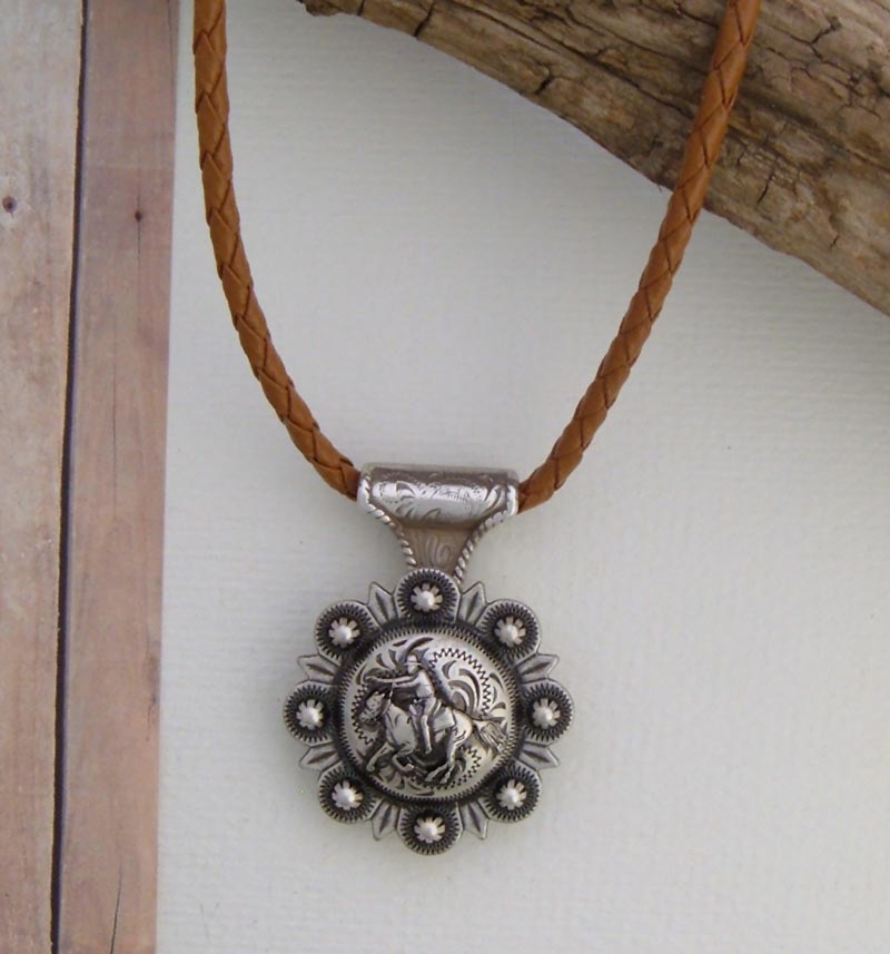 Concho Necklace - Light Bolo Leather