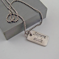"""Dare to be Wise """"Sapere aude"""" Silver Necklace Pendant"""