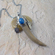 Deer Antler Necklace  - Sterling Silver & Denim Lapis