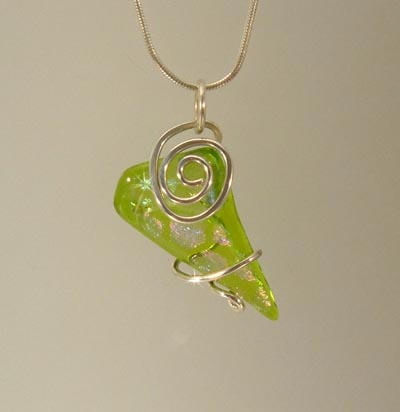 Dichroic and Silver Art Glass pendant WR996