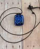 Etched Dichroic Glass Necklace C92