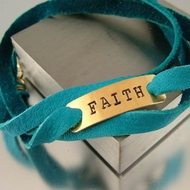 """Faith"" Leather Wrap Bracelet"