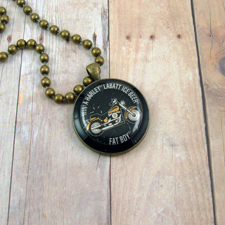Harley Fat Boy Pendant Brass