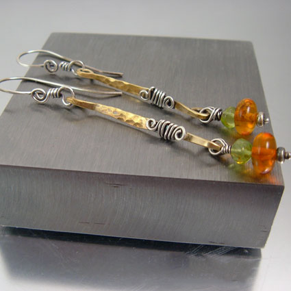 """Honey Amber"" Handcrafted Earrings"