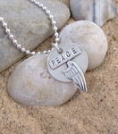 """Inspirational Pendant  """"Wings of Peace"""" Solid Silver"""