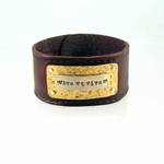 "Leather Cuff Bracelet ""Live to the Fullest"" Latin Phrase"