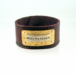 """Leather Cuff Bracelet """"Live to the Fullest"""" Latin Phrase"""